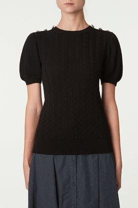 Picture of Black Decorative Button Sweater