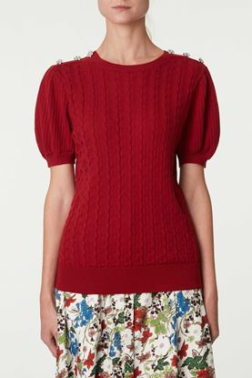 Picture of Red Decorative Button Sweater