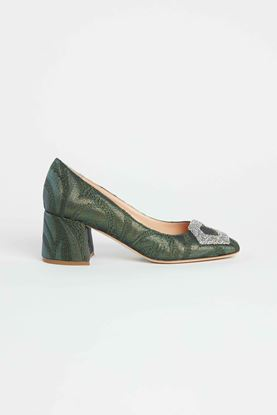 Picture of Green Crystal Buckle Heels 55mm