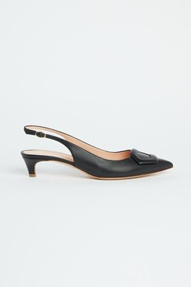 Picture of Black Leather Slingback Heels 30mm