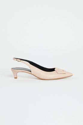 Picture of Nude Colour Leather Slingback Heels 30mm