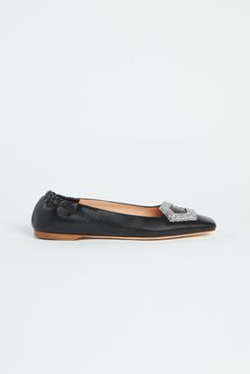 Picture of Black Leather Buckle Ballerina Flats