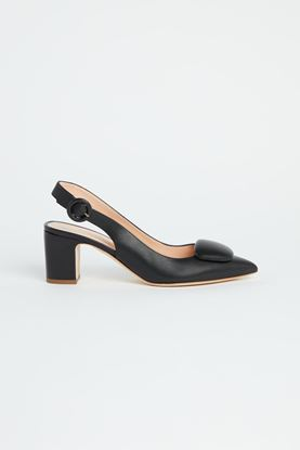 Picture of Black Leather Slingback Heels 60mm