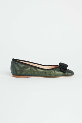 Picture of Moss Green Bow Embellished Flats