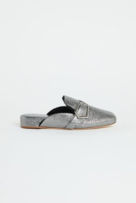 Picture of Silver Shearling Leather mules 30mm
