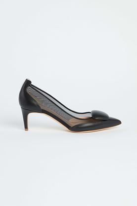 Picture of Black Leather Mesh Heels 55mm