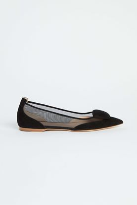 Picture of Black Leather Mesh Flats