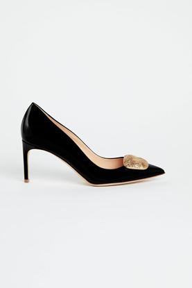 Picture of Black Patent Leather Gold Pebble Heels 80mm