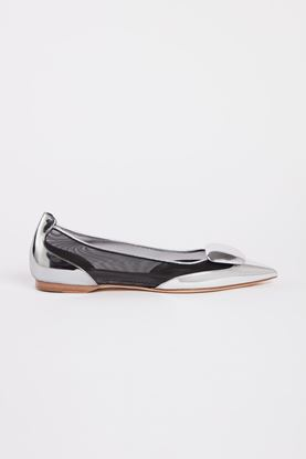 Picture of Silver Leather Mesh Flats