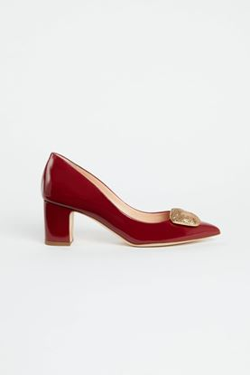 Picture of Red Leather Pebble Heels 60mm