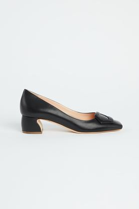 Picture of Black Leather Pebble Heels 50mm