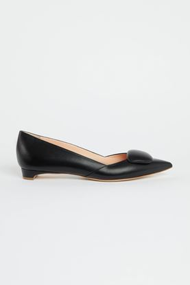 Picture of Black Leather Pebble Heels 10mm