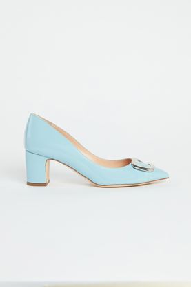 Picture of Baby Blue Leather Pebble Heels 60mm