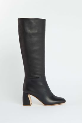 Picture of Black Calf Leather Knee High Boots 80mm