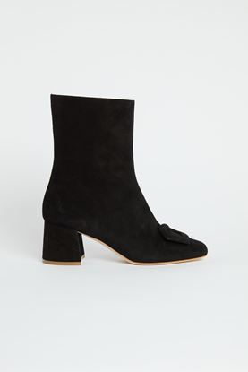 Picture of Black Buckle Ankle Boots 55mm