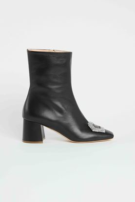 Picture of Black Crystal Buckle Ankle Boots 55mm