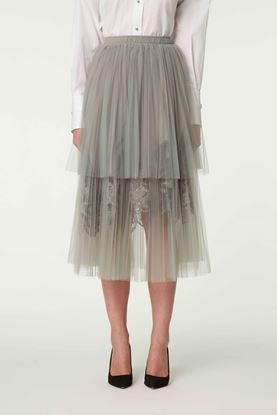 Picture of Grey Lace Trim Tulle Skirt