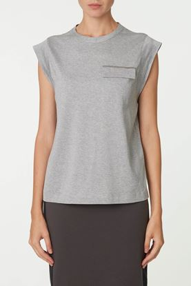 Picture of Grey Round Neck Jersey Top