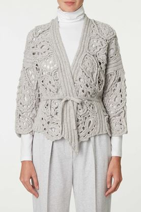 Picture of Grey Openwork Paisley Pattern Cardigan